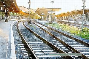 Bahnhof, Gleise Richtung Westen