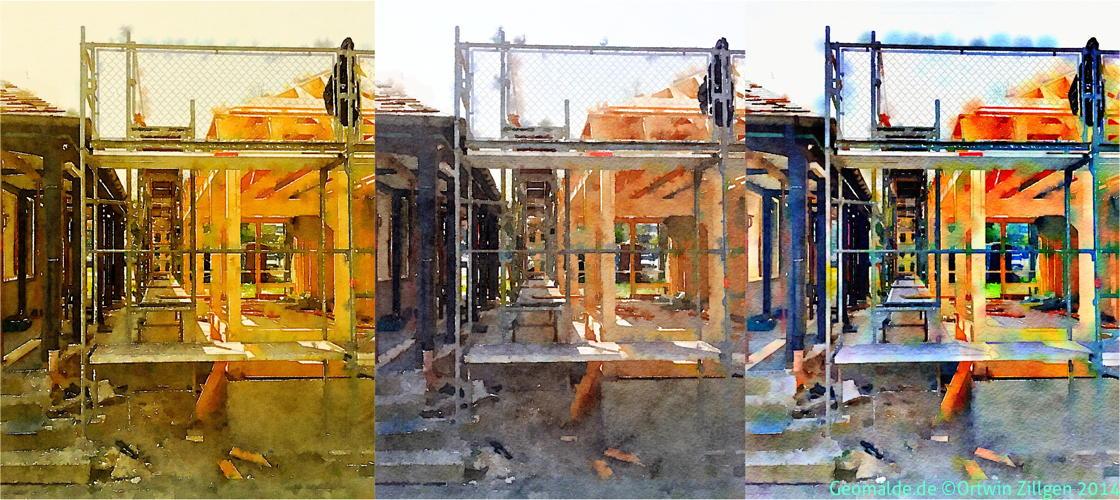 Neubau des Bahnhof-Pavillons in drei Ausfertigungen
