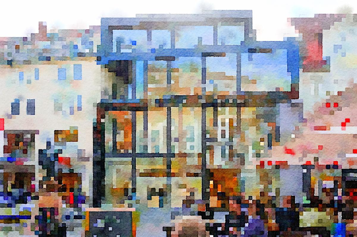 Modernes Gebäude, Glasfront, Vor der Burg