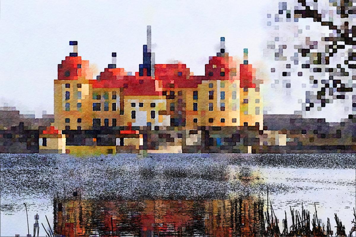 Moritzburg bei Dresden, Linien und Quadrate gemischt